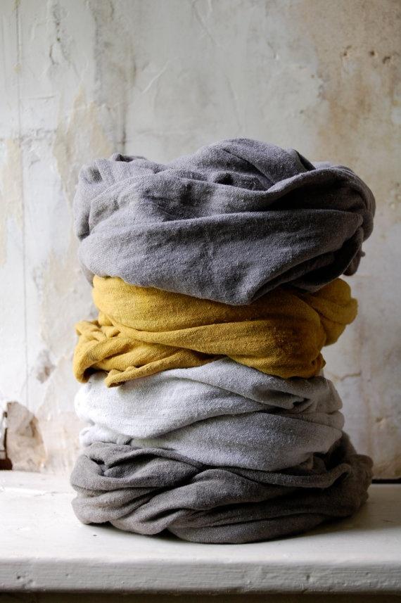 Mustard scarf organic cotton hemp jersey naturally hand dyed