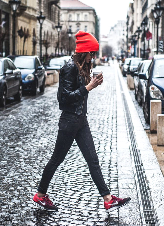 red hat, red nikes
