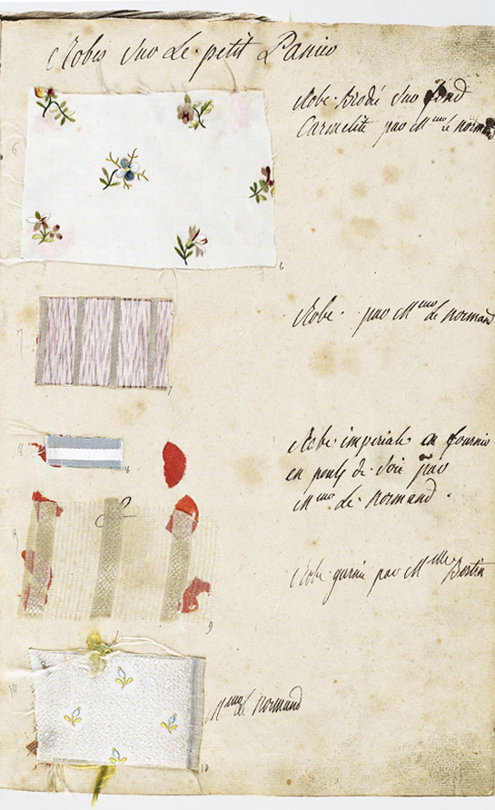 A page from Marie Antoinette's wardrobe book from 1782